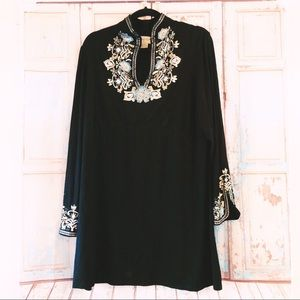 Midnight Velvet long tunic top with gold accent